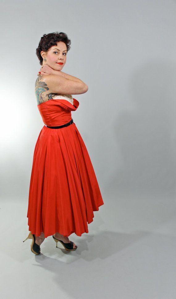 VA VA VOOM    1950s Vintage Dress CADILLAC QUEEN Red Strapless by stutterinmama, $136.00