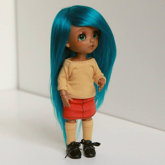 Lati yellow 5-6 wig turquoise petrol blue green extra