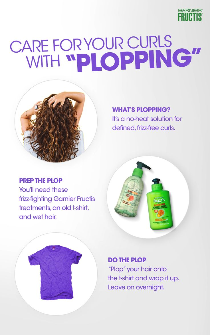 "Get ready to plop your curls! grab Garnier Fructis Sleek & Shine Intensely Smooth Leave- In Conditioning Cream, Sleek & Shine Anti-Frizz Serum and an old t-shirt. 1) Apply both treatments to wet hair. 2) Flip your head over and lower your hair onto the t-shirt,""plopping"" it into a pile. 3) Wrap the t-shirt towards your neck and secure the ends. Leave on overnight for best curl results.     Purchase Sleek & Shine Leave-In Conditioning Cream at Target!"