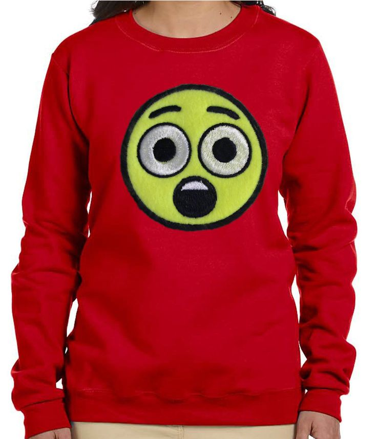 Red Women Astonished Face Emoji Sweatshirt. Make a Hot Fashion Statement with ourRed Emoji Sweatshirt. A Great Buy for joggers. Can be paired with jeans for a nice casual outfit. Sweatshirt is embellished with a fleece astonished face emoji applique embroidery design. Emoji art supplied by EmojiOne Sweatshirt = 50% cotton, 50% polyester; Pill resistant; Has double needle stitching; Has 1X1 ribbed collar, cuffs and waistband. Recommended Care - Wash on gentle cycle in cold water and...
