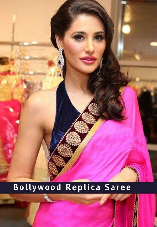 Nargis Fakhri Pink Saree  To Buy Online Click http://trendzila.com/home/66-nargis-fakhri-pink-saree.html