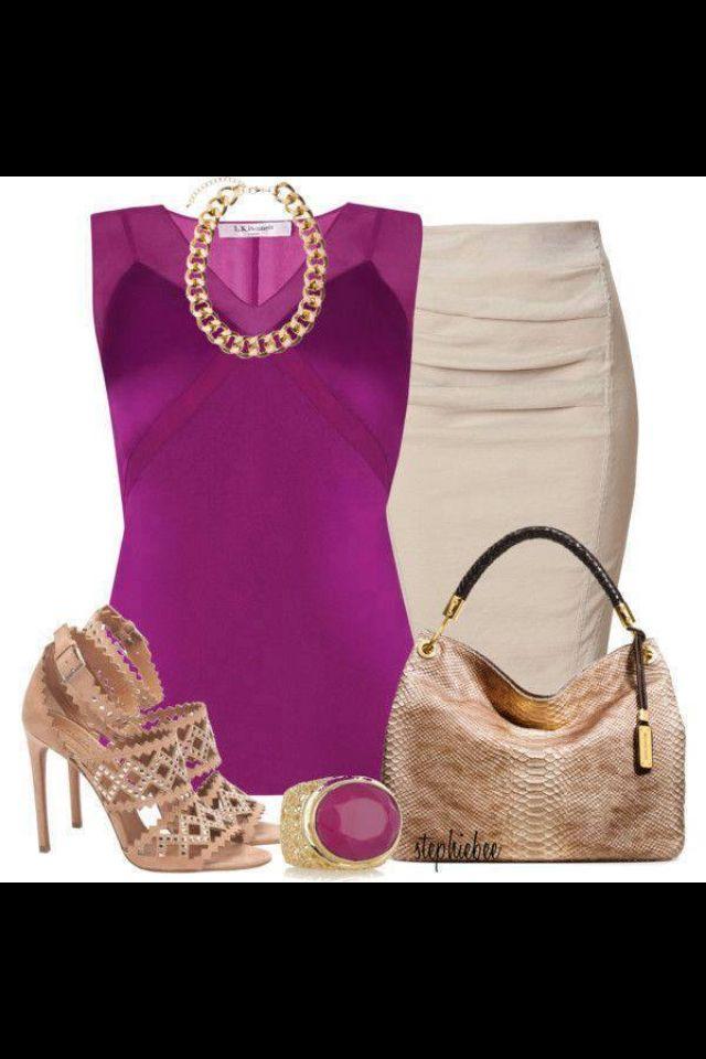 1. Beige skirt + fucsia silk Guess top + Aldo nude wedge + gold jewelry + Mk bag/Coach beige  & fucsia bag