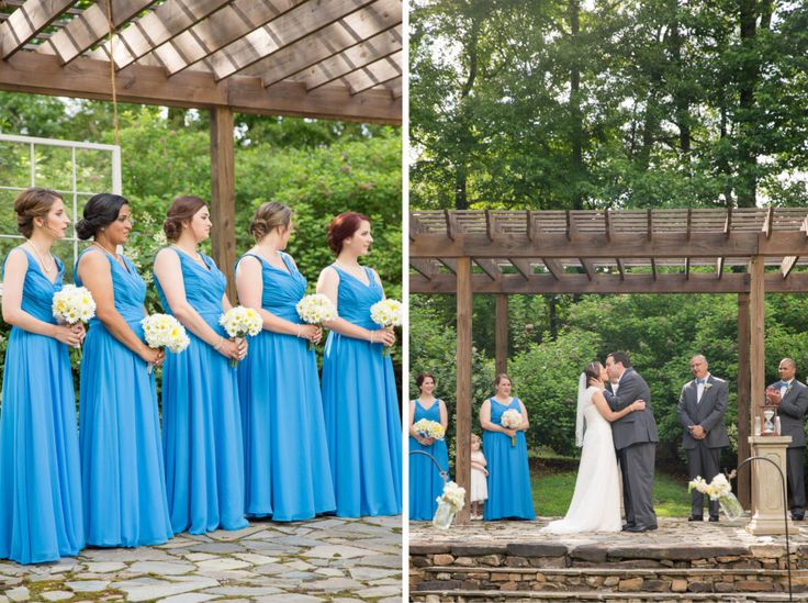 A beautiful, outdoor summer wedding ceremony at Micah's Meadow (Mathew's Manor) in Springville, Alabma. The first kiss wedding photo and bright blue bridesmaids dress inspiration from Bella's Bridal. How to rock yellow an white daisy bridesmaid's bouquets. Mathew's Manor wedding photography by Katie & Alec Photography based in Birmingham, Alabama.