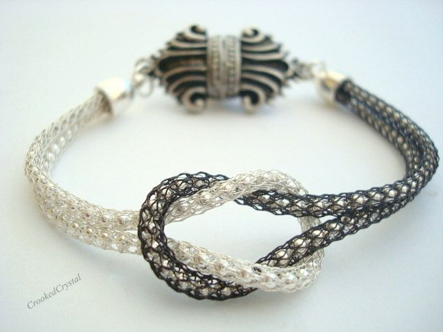 Bracelet  Love Knot  Silver and Black Diamond by CrookedCrystal