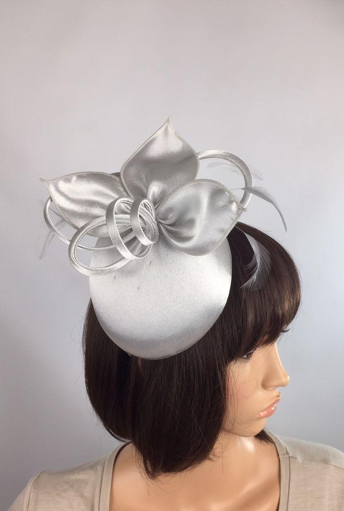 Satin Silver Grey Fascinator - Occasion Wedding Mother Of The Bride Ascot Races  | eBay