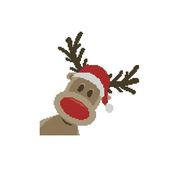 Cross stitch pattern, Crochet Graph Pattern PDF Christmas Rudolph reindeer 2 Instant Download