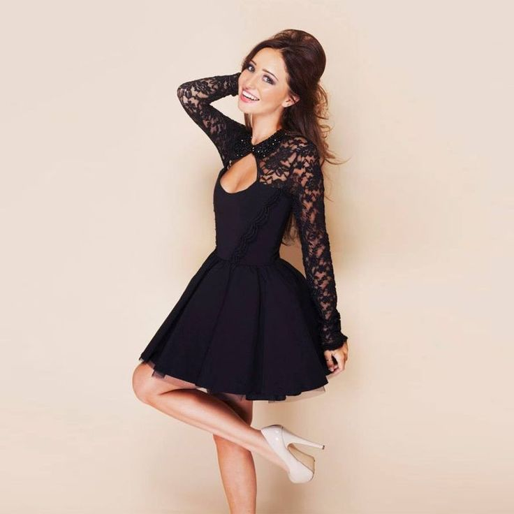 Fancyinn® Women Long Sleeve Floral Lace Hollow Out Cocktail Party Mini Dress