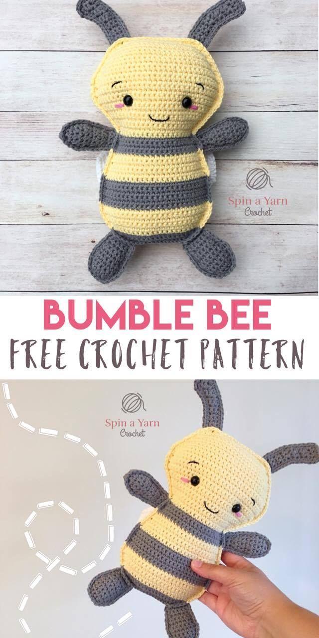 Bumble Bee Free Crochet Pattern Bij mij kwam het hoofdje niet zo mooi uit