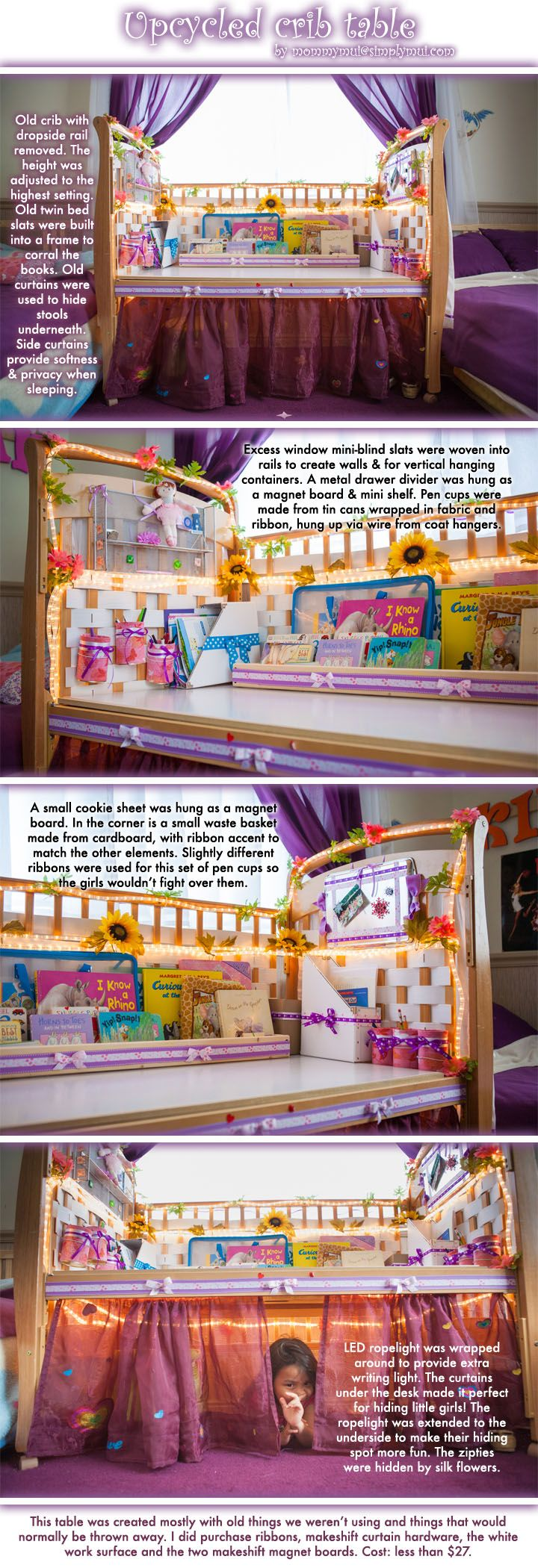 Old crib upcycled into a girls' workstation. Inspired by http://alittlelearningfortwo.blogspot.com/2011/08/repurposed-cot.html