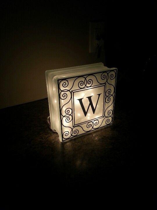 Monogram Illuminated Glass Block