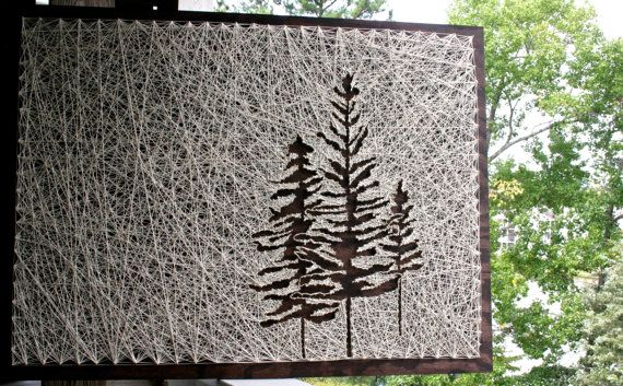 "Tree String Art/ 26""x18"" Pine Tree String Art/ Reverse String Art"