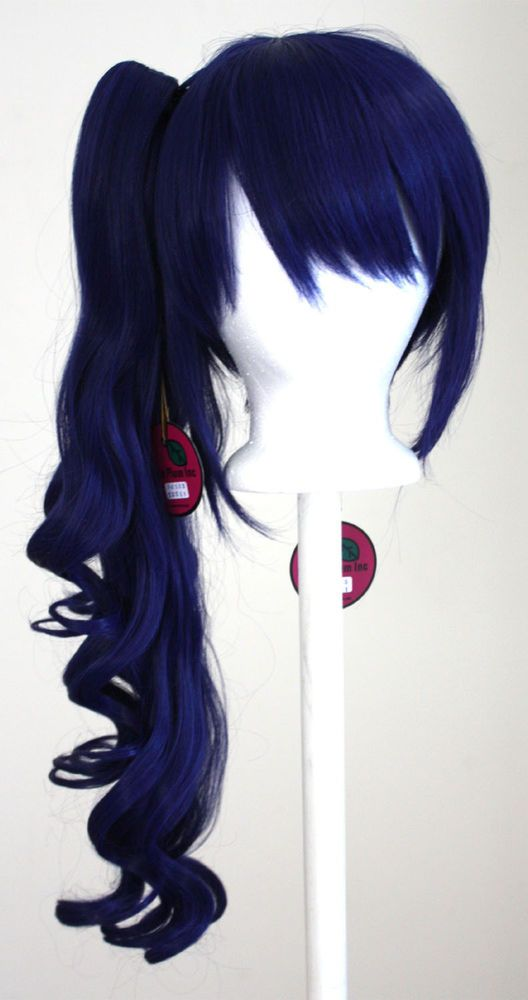 23'' Curly Pony Tail Clip Navy Blue Cosplay Wig NEW