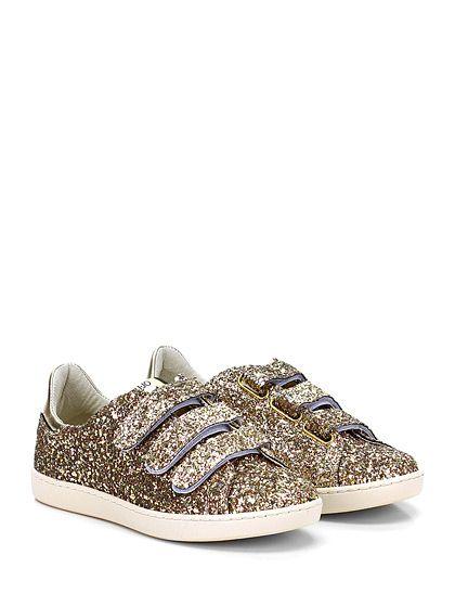 LIU.JO - Sneakers - Donna - Sneaker in glitter e pelle laminata con multi cinturino a strap e suola in gomma. Tacco 20, platform 15 con battuta 5. Strass su retro. - GOLD