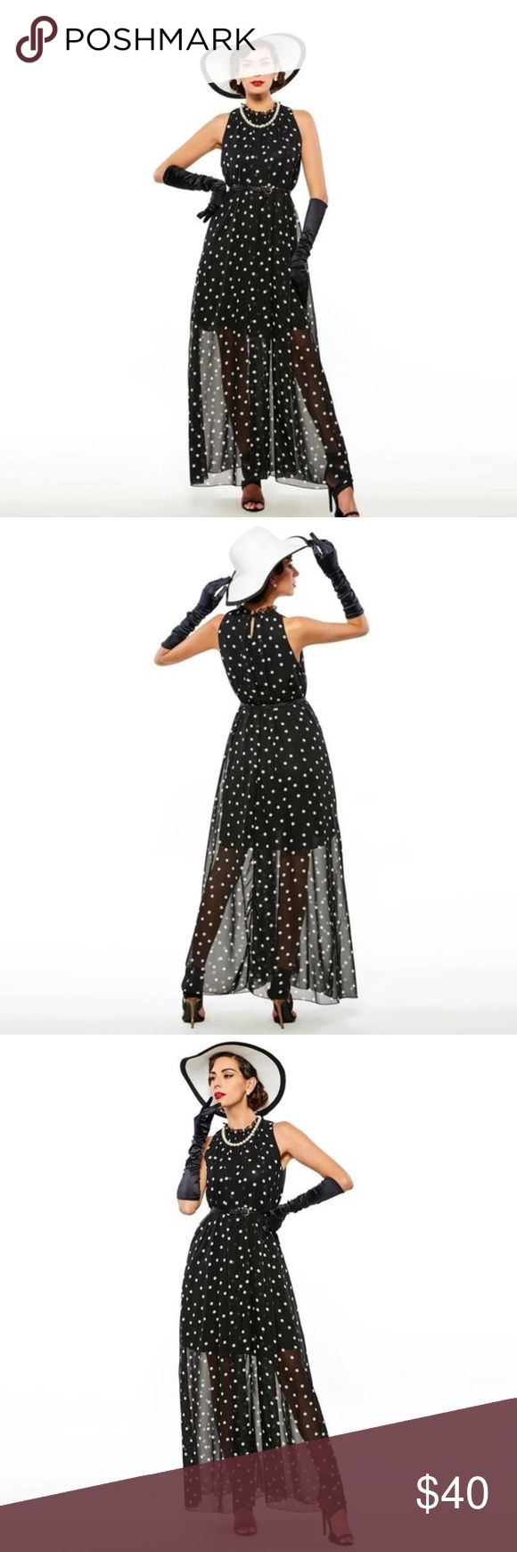 Black and White Polka Dot Sheer Maxi Dress Black and white polka dot maxi dress with slimming stretch underlayer and luxurious sheer overlayer. Comes with black braided leather belt.  Perfect for a garden party, wedding, or a night out. Clocolor Dresses Maxi