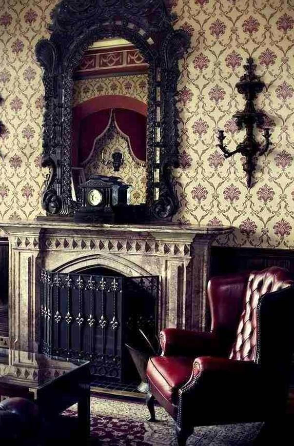 Oh That Wallpaper It Reminds Me Of My Beloved Grandmothers Home Sigh Splendor In 2020 Gothic Living Rooms Dark Home Decor Gothic House