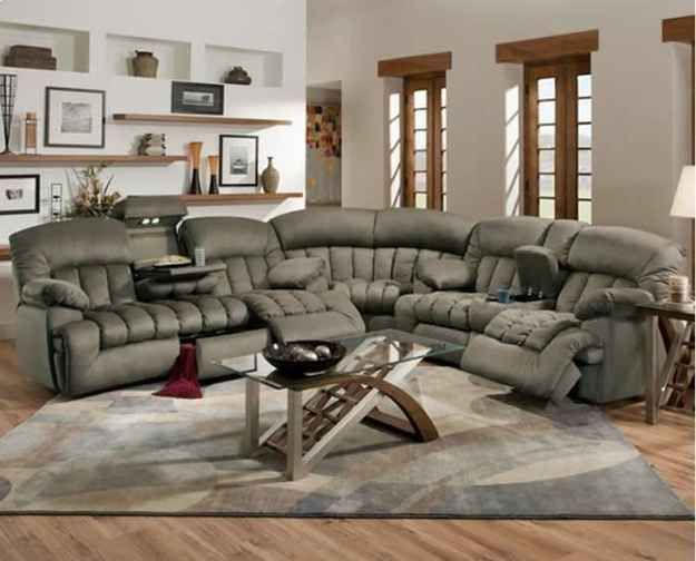 The awesome recliner couch that's kind of like an ugly puff of gray air.
