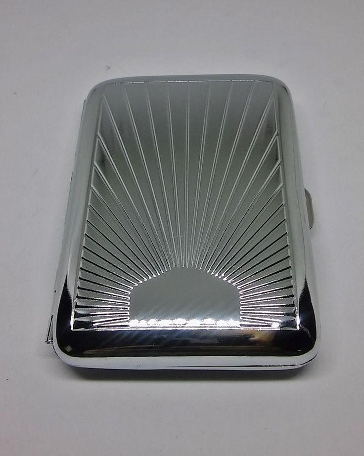 Kingstar Silver Rising Sun Metal Strong Box King Size Cigarette Case #Kingstar
