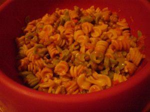 Pasta con lenticchie e crema di peperoni