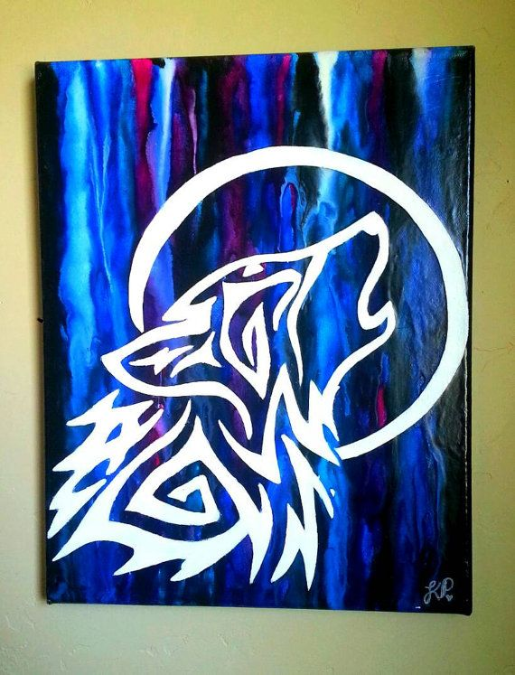 Tribal wolf howling at the moon crayon art. by kaylaskraftz
