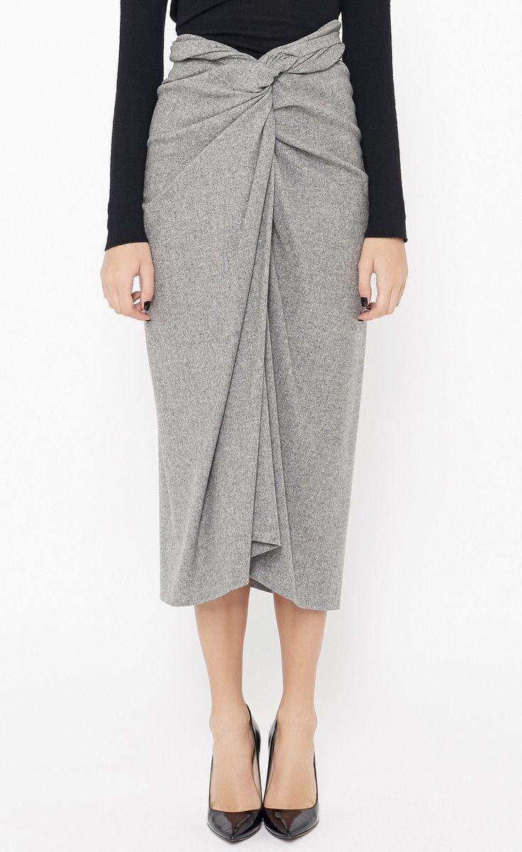 Dries Van Noten Light Grey Skirt // love the form + drape