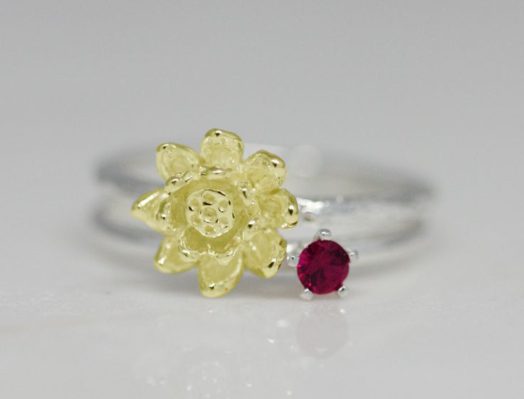 July birth flower and stone ring set, birth flower ring, birth stone ring, stacking ring, statement ring, birthday gift, ruby, lotus, women