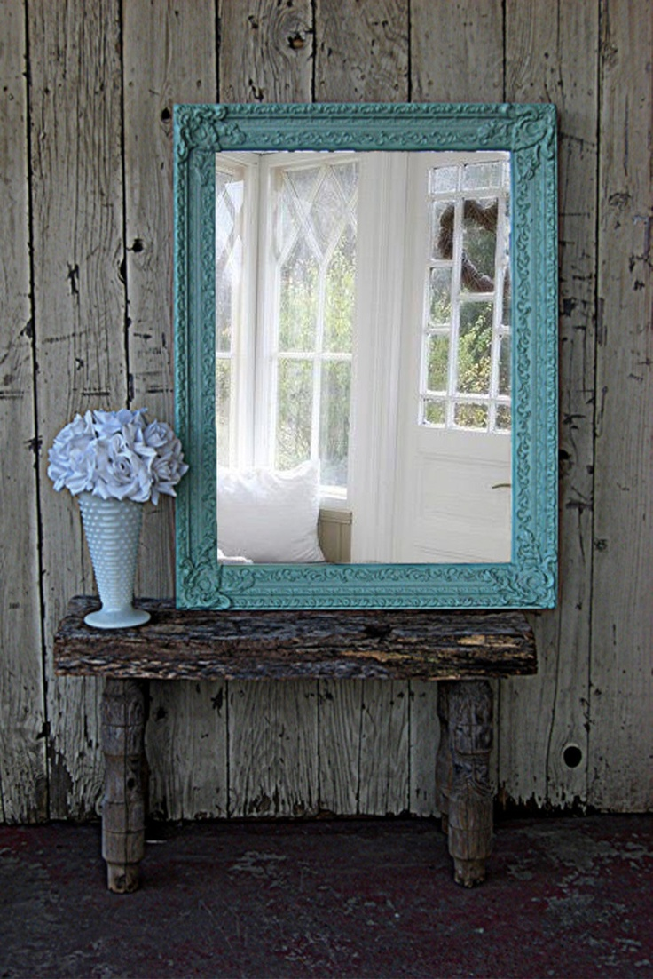 Antique Teal  Mirror Shabby Chic Beach Cottage. $225.00, via Etsy.