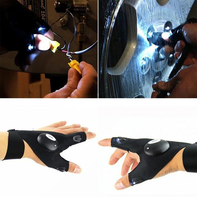 Finger Glove with LED Light Flashlight Tool Outdoor Gear Rescue Night Fishing US