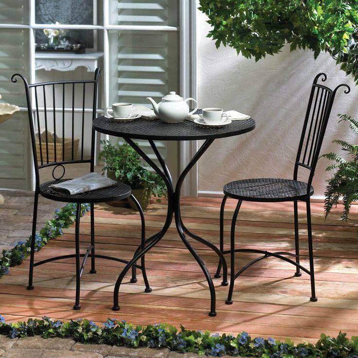 Bistro Patio Table Chair Set Outdoor Black Metal Lattice Top Garden Furniture #SummerfieldTerrace