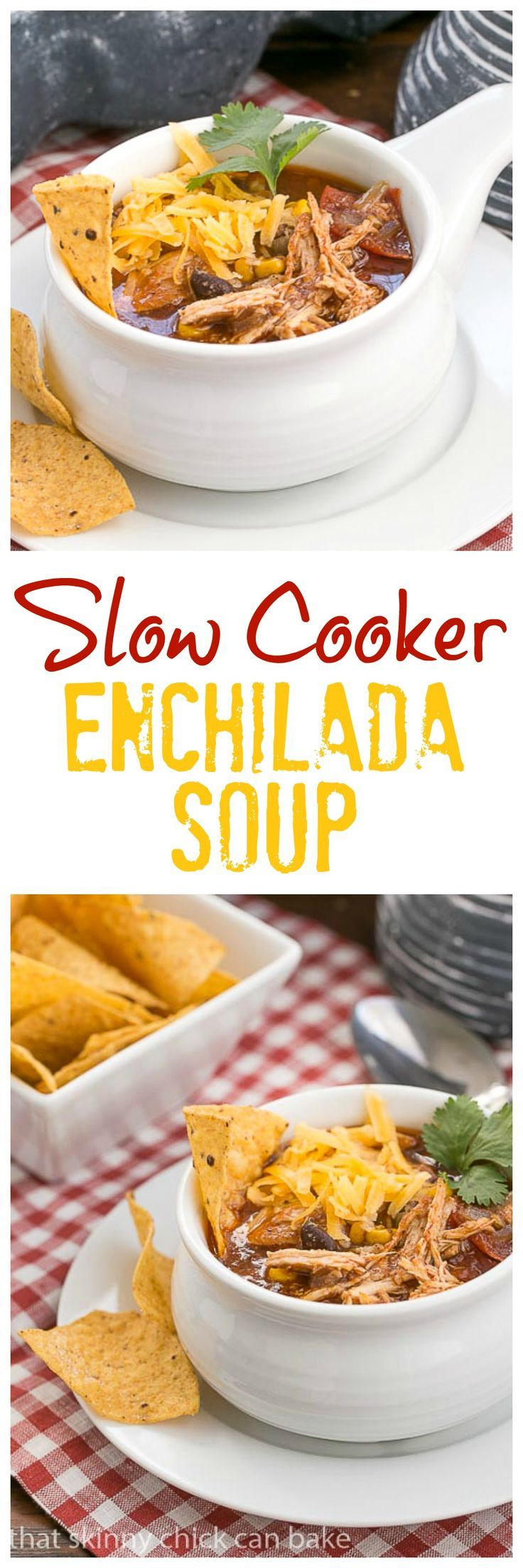 Slow Cooker Chicken Enchilada SoupSlow Cooker Chicken Enchilada Soup | A spicy, comforting Tex-Mex soup @lizzydo