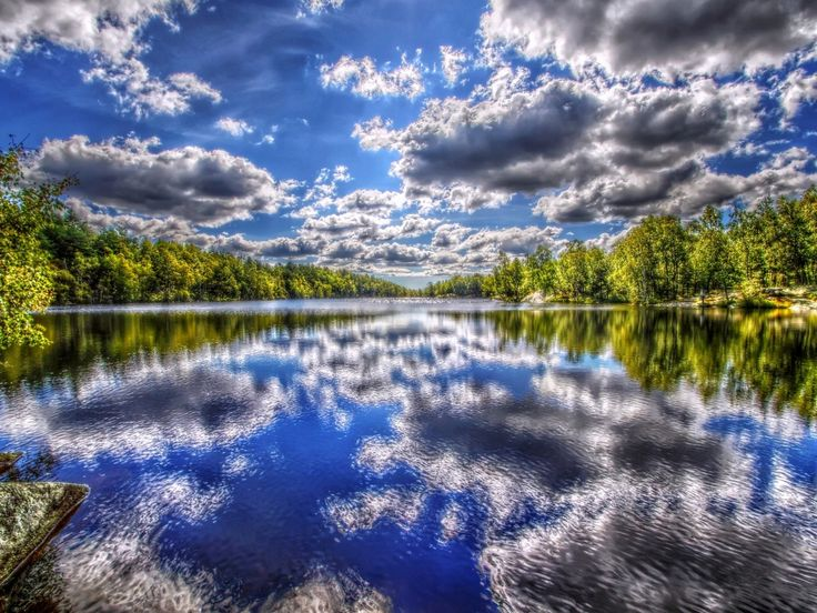 letní obrázky, tapety řeka, obloha vektor, HDR fotografie, stromy zázemím, mraky materiál