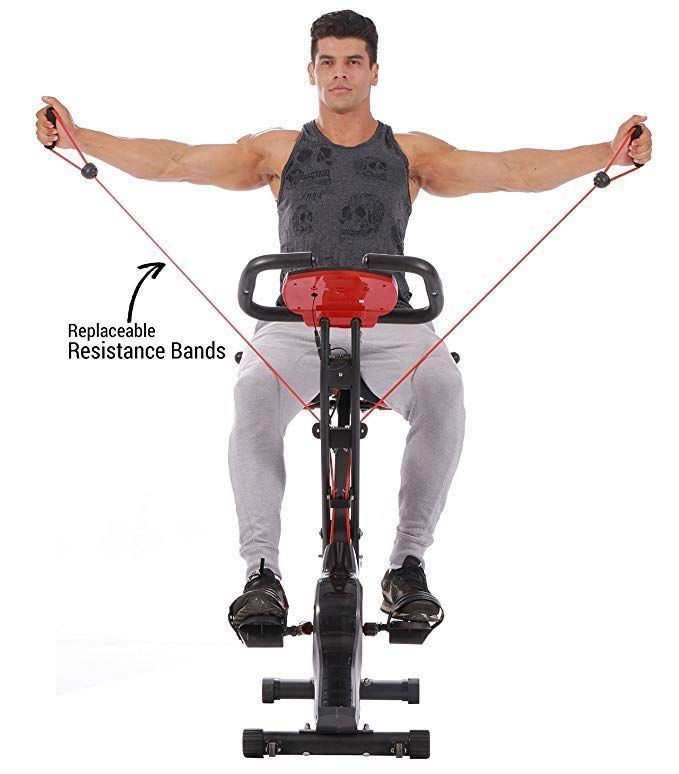 Pleny Upright Stationary Exercise Bike With Arm Exercise Resistance Bands And Phone Holder Biking Workout Upright Exercise Bike Recumbent Bike Workout