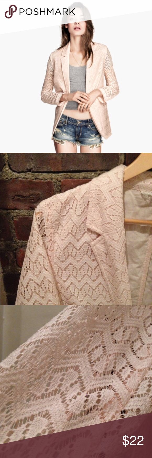 Nwot crochet lace blazer Beautiful blazer in perfect condition. Color is light pink. Could fit as a medium or large Divided Jackets & Coats Blazers
