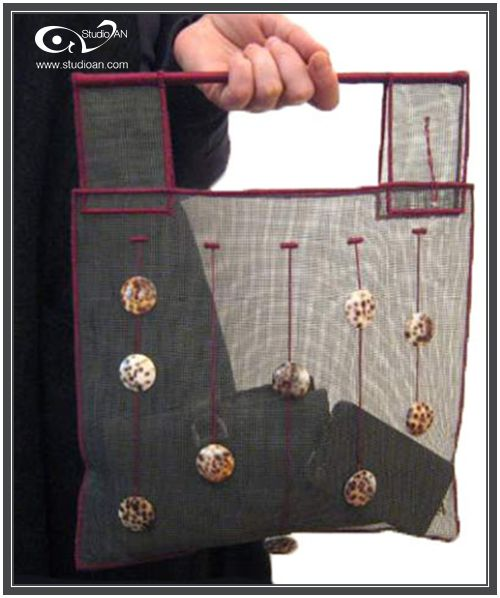 Soft screen handbag with buttons made of shell #studioAN #handbags #transparentbags #handmade http://www.studioan.com/ngine/en/product/81/soft-screen-handbag-with-buttons-made-of-shell