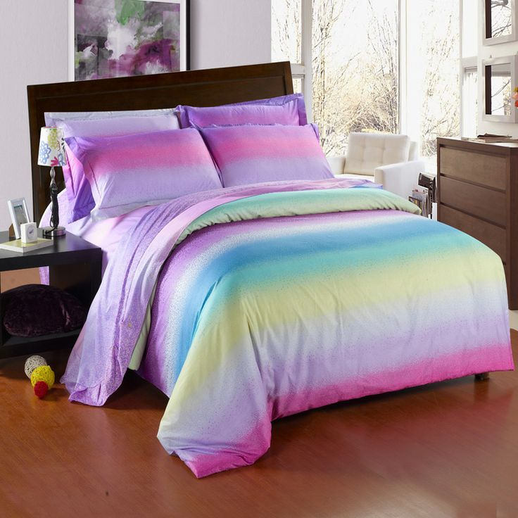 Colorful Candy Stripe Twin Full Queen Size Toile Bedding Sets In Pink Light Purple Blue And