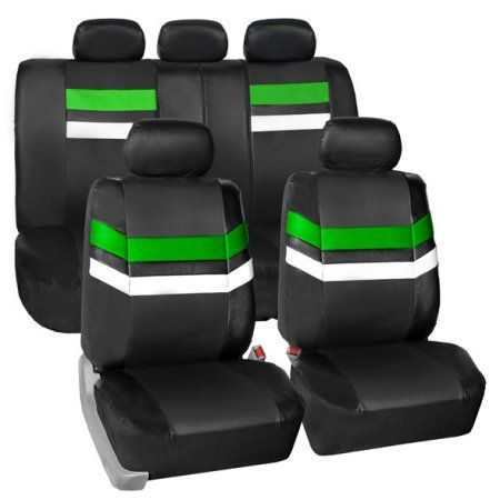 Fh Group Varsity Spirit Pu Leather Universal Fit Gray Car Seat Covers Green Pink Car Seat Covers Leather Seat Covers Leather Car Seat Covers