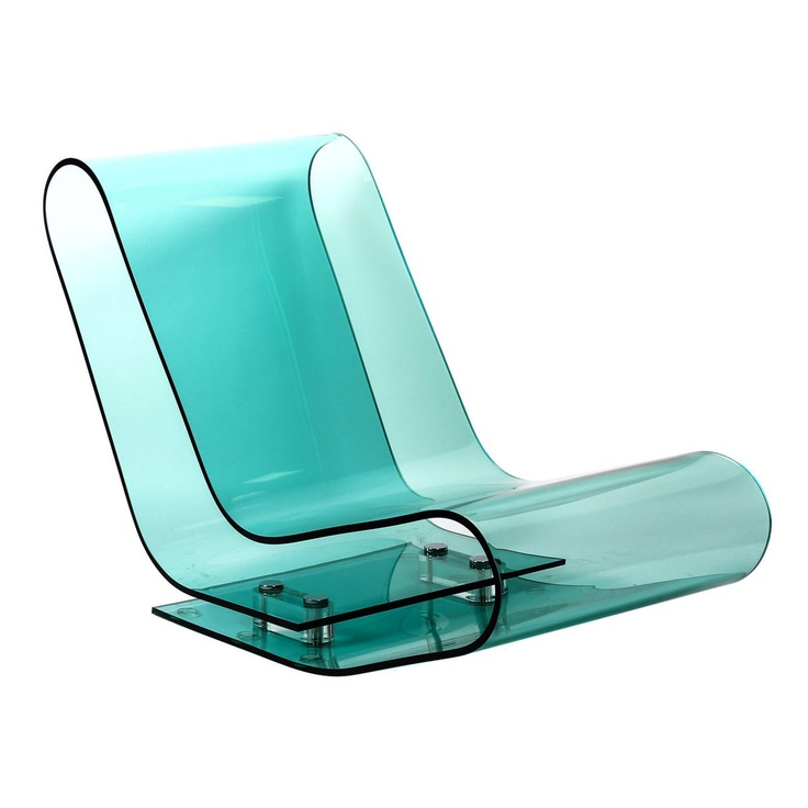 Lounge chair made out of a single piece of transparent plastic bent into shape. Looks cool!