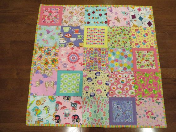 Flannel  Baby Girl Quilt I Spy Quilt by FabricCreationsFran