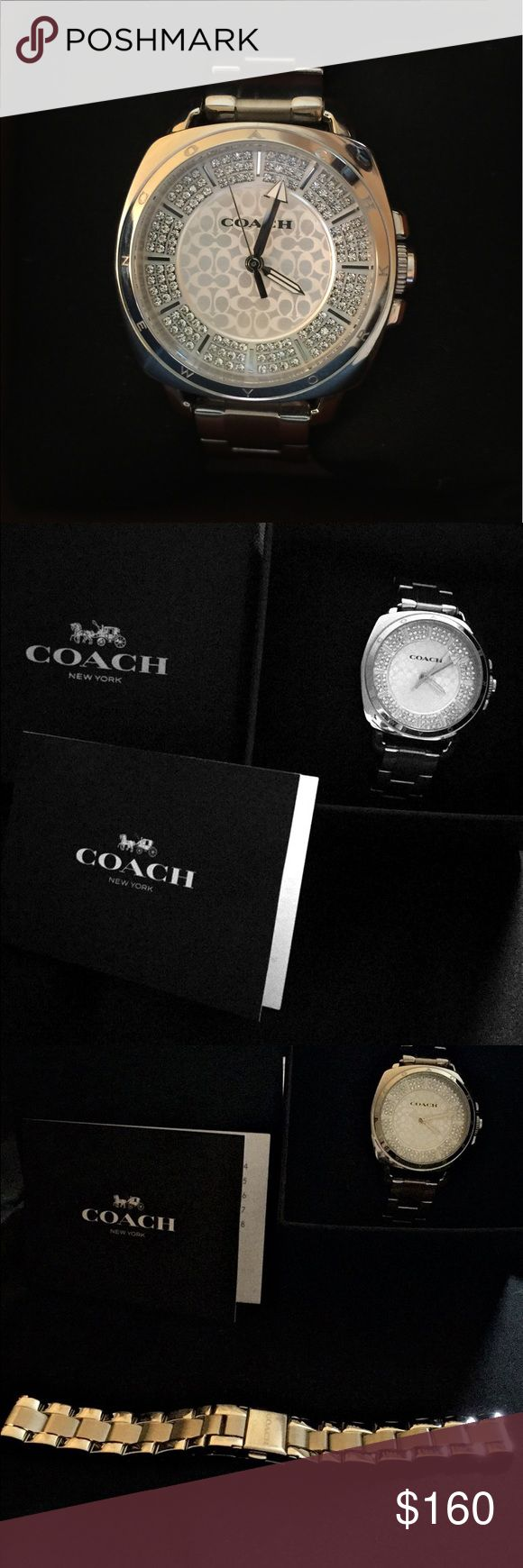 """Women's Coach Boyfriend watch Women's mid-sized Coach Boyfriend watch (34 mm case) - stainless steel case and link bracelet, silver and white dial with Swarovski Crystal set and Coach """"signature C"""" pattern, quartz movement.  Extra stainless steel link bracelet included ($120 retail value). Coach Accessories Watches"""