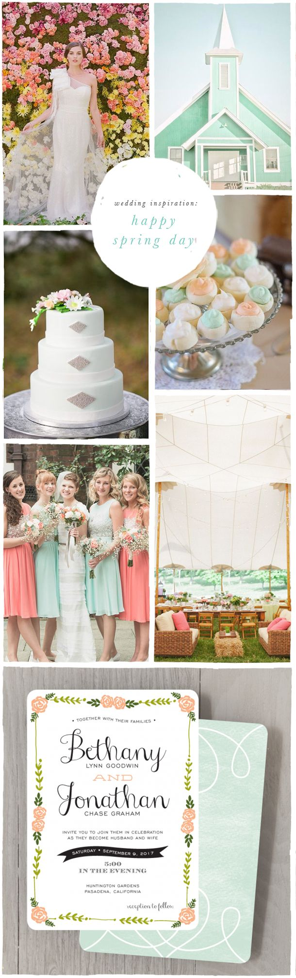 Wedding Inspiration Moodboard: Happy Spring Day | Spring wedding with mint, honeysuckle, and peach | Smitten On Paper