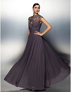 Formal Evening Dress A-line High Neck Floor-length Chiffon D... – USD $ 109.99
