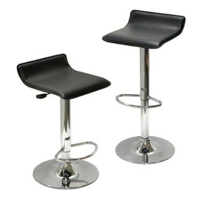 Set of 2 Modern Air-Lift Adjustable Bar Stools with Black Seat - Quality House
