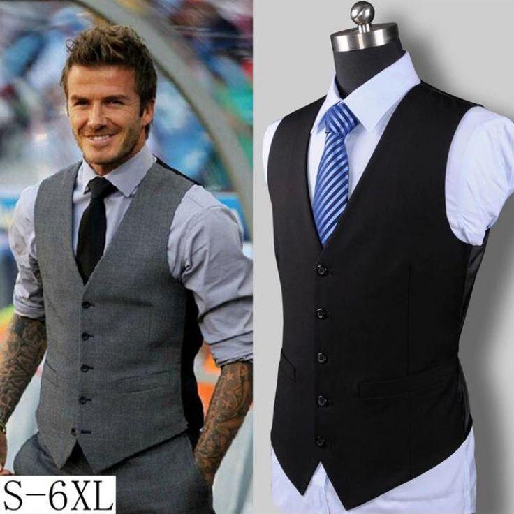 XXXXXXL New Men's Slim Vest Suit Single Button Casual Vest Men's brand Sleeveless Jacket British Waistcoat in Men's Suit Vests //Price: $34.56 & FREE Shipping //     #hashtag3