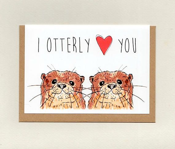 I OTTERLY LOVE YOU . greeting card . otter valentines wedding