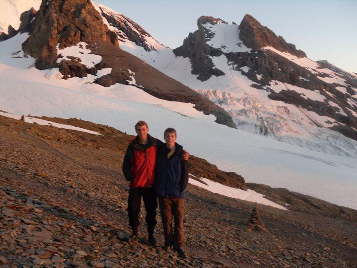 Alpine hut before sun down little brother