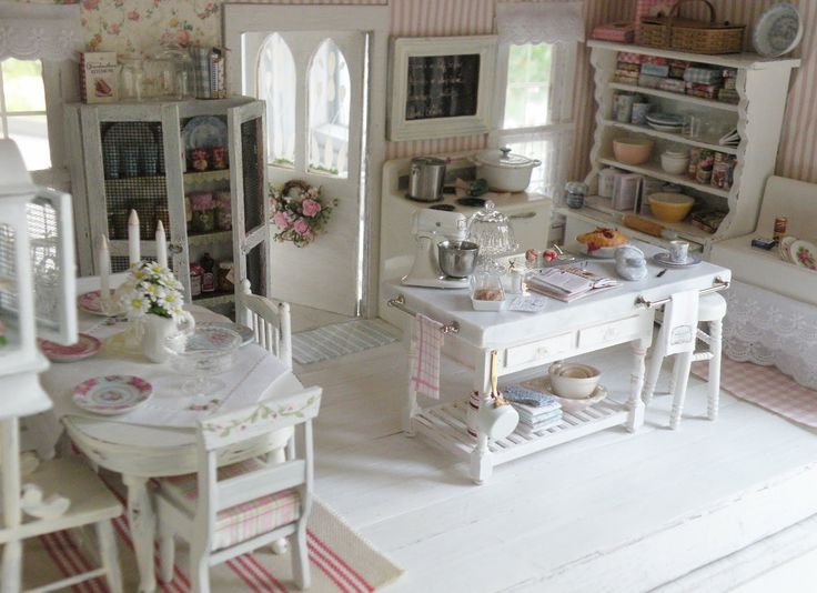Beautiful shabby chic kitchen! Love the marble island kitchen! by Cynthia's Cottage Design