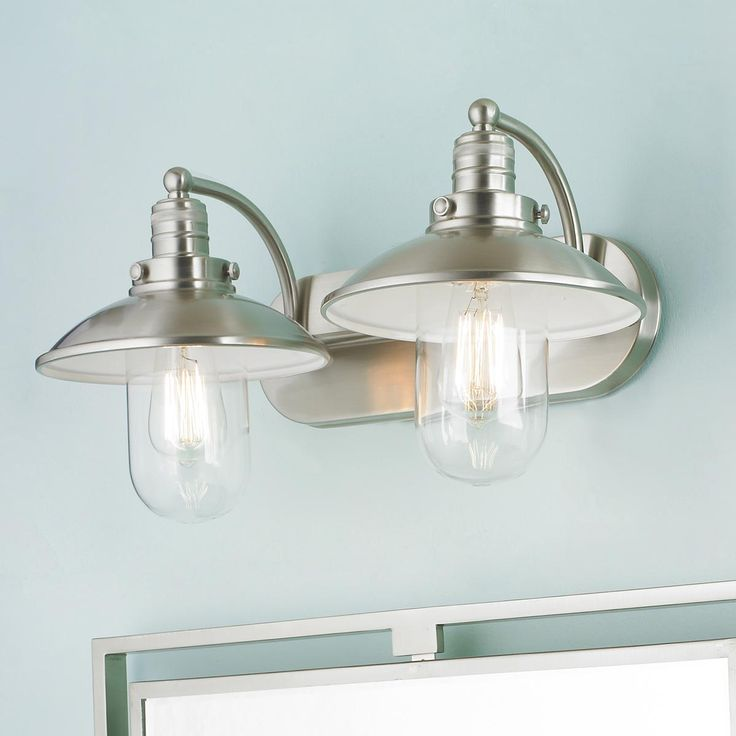 Vanity Lights For Small Bathroom : Retro Glass Globe Bath Light - 2 Light Bathrooms decor, Vanities and Bathroom light fixtures