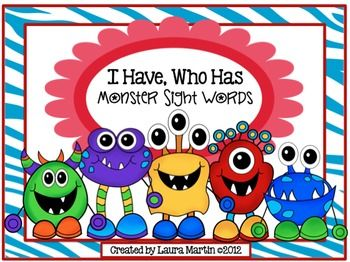 """The ability to read sight words is an important part of learning to read and is included in Common Core standards beginning in Kindergarten. """"I Have, Who Has"""" is an easy to use game that can review almost any skill. Monster Sight Words does just that-reviews 25 of the first sight words taught."""