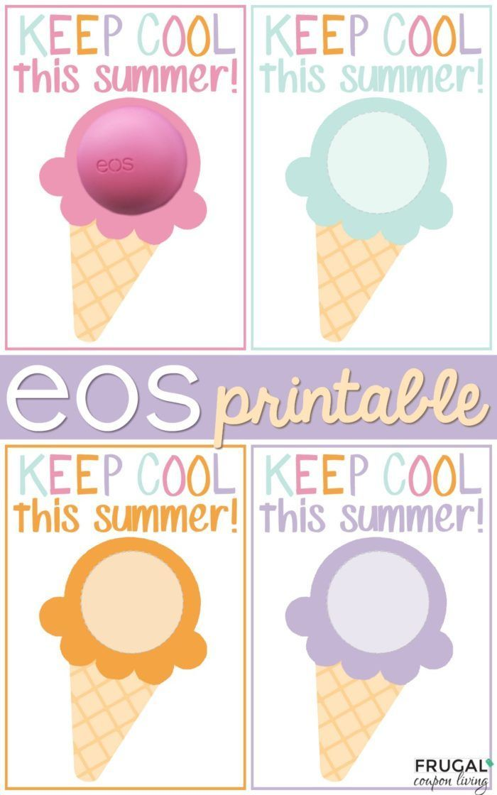Eos Pritnable Keep Cool This Summer Ice Cream Cone Teacher Coupons School Gifts Student Gifts