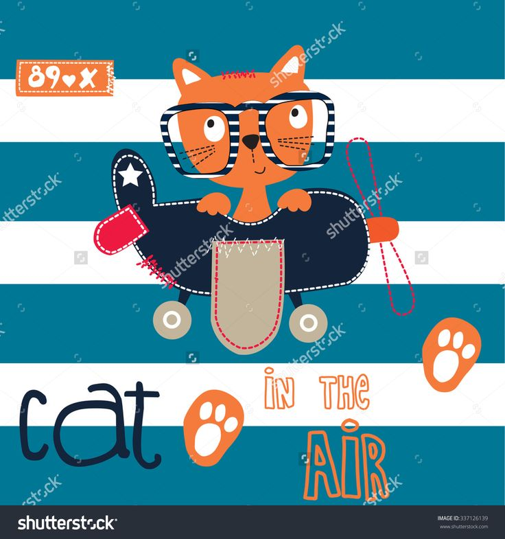 Cute Cat Pilot In The Air On Striped Background Vector Illustration - 337126139 : Shutterstock