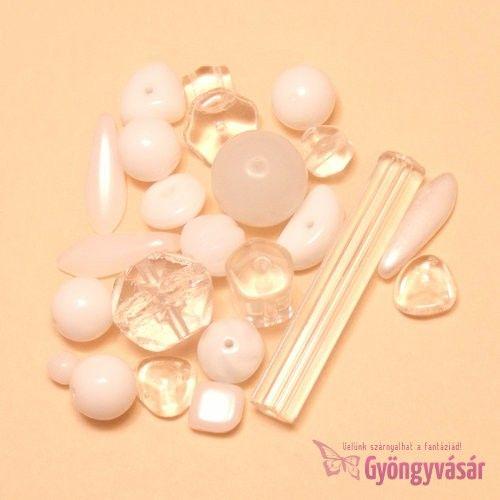 Fehér-átlátszó vegyes cseh gyöngy, 15 g